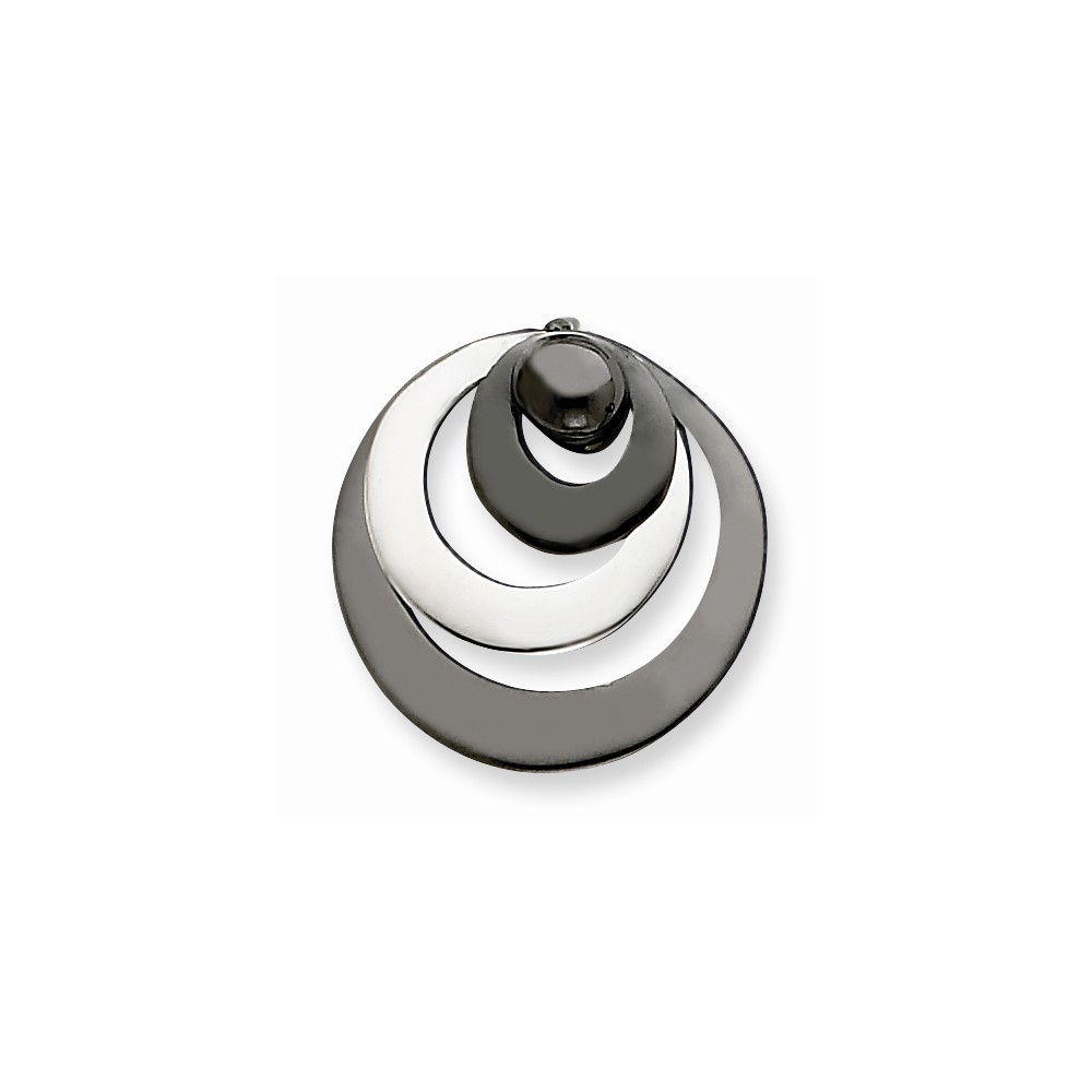 Sterling Silver Black Rhodium Polished Circle Pendant