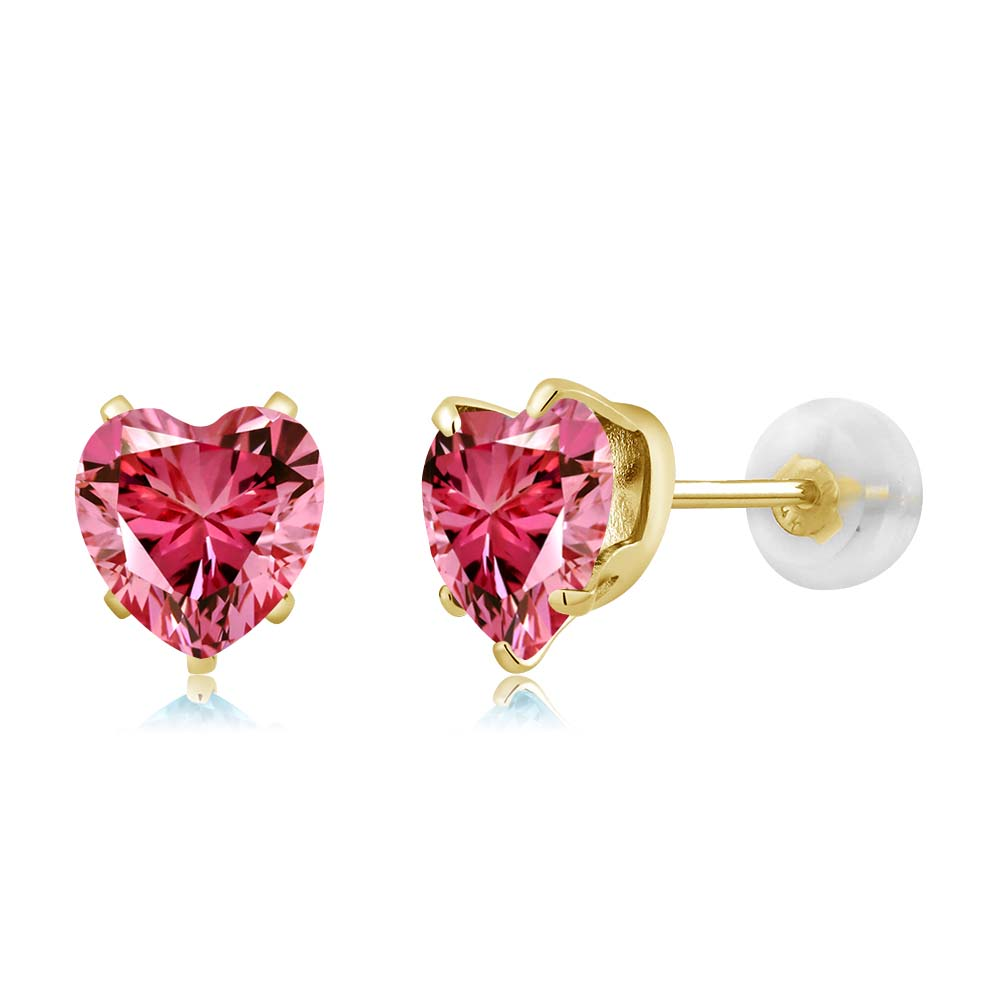 1.48 Ct Fancy Pink 10K Yellow Gold Earrings Made With Swarovski Zirconia by