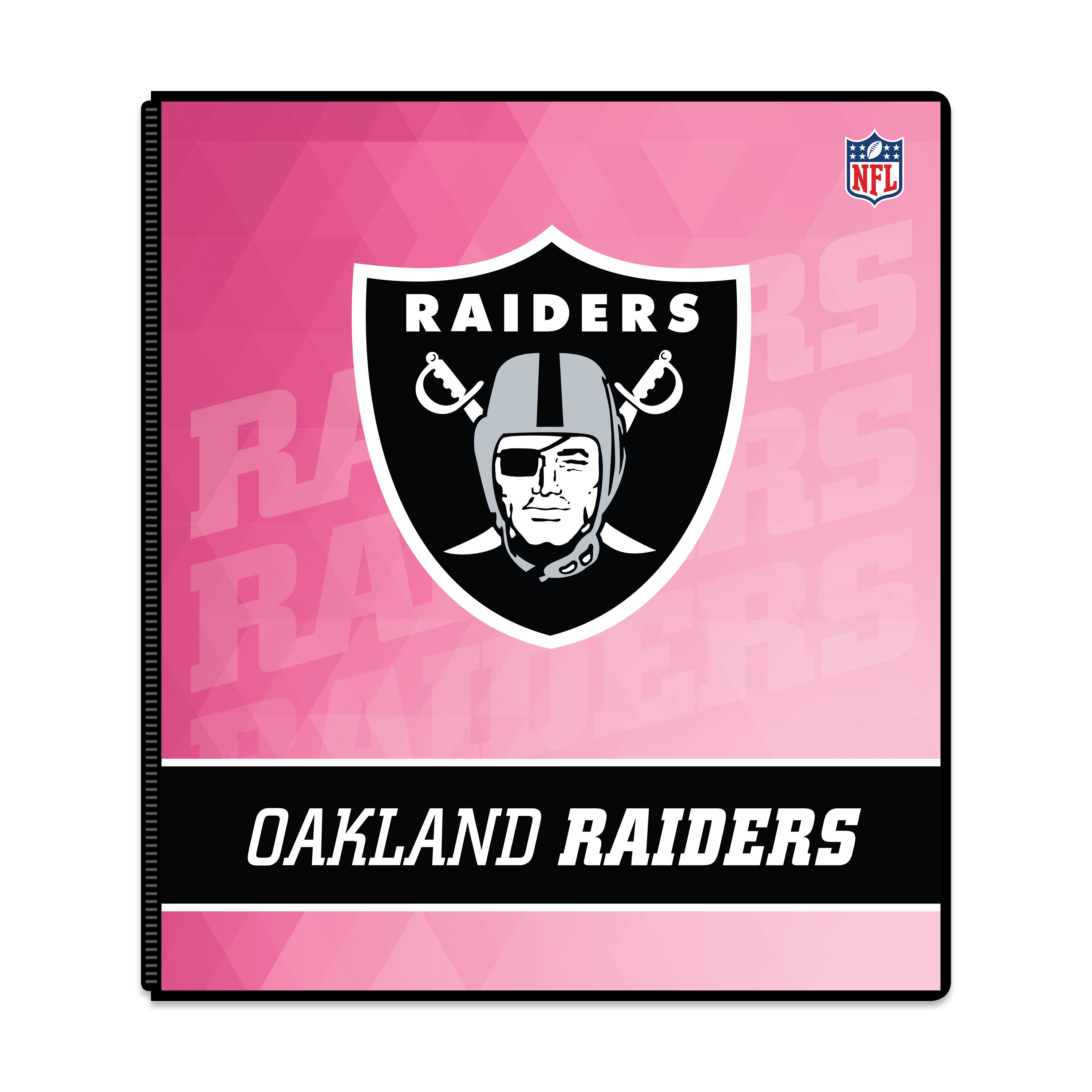 "NFL Oakland Raiders 3 Ring Binder, 175 Sheet Capacity, 1"" Metal Rings"