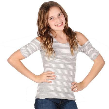 Lori & Jane Girls Gray White Striped Short Sleeve Cold Shoulder Top