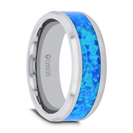 Thorsten QUASAR | Tungsten Rings for Men | Tungsten | Comfort Fit | Wedding Ring Band with Blue Green Opal Inlay -
