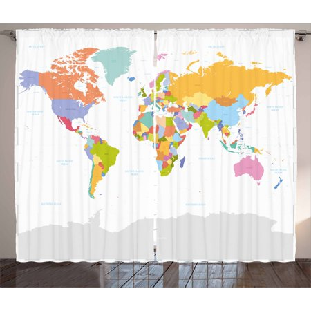 Map Curtains 2 Panels Set, Highly Detailed Political Map of the World Global Positioning System Graphic Colorful, Window Drapes for Living Room Bedroom, 108W X 63L Inches, Multicolor, by Ambesonne ()