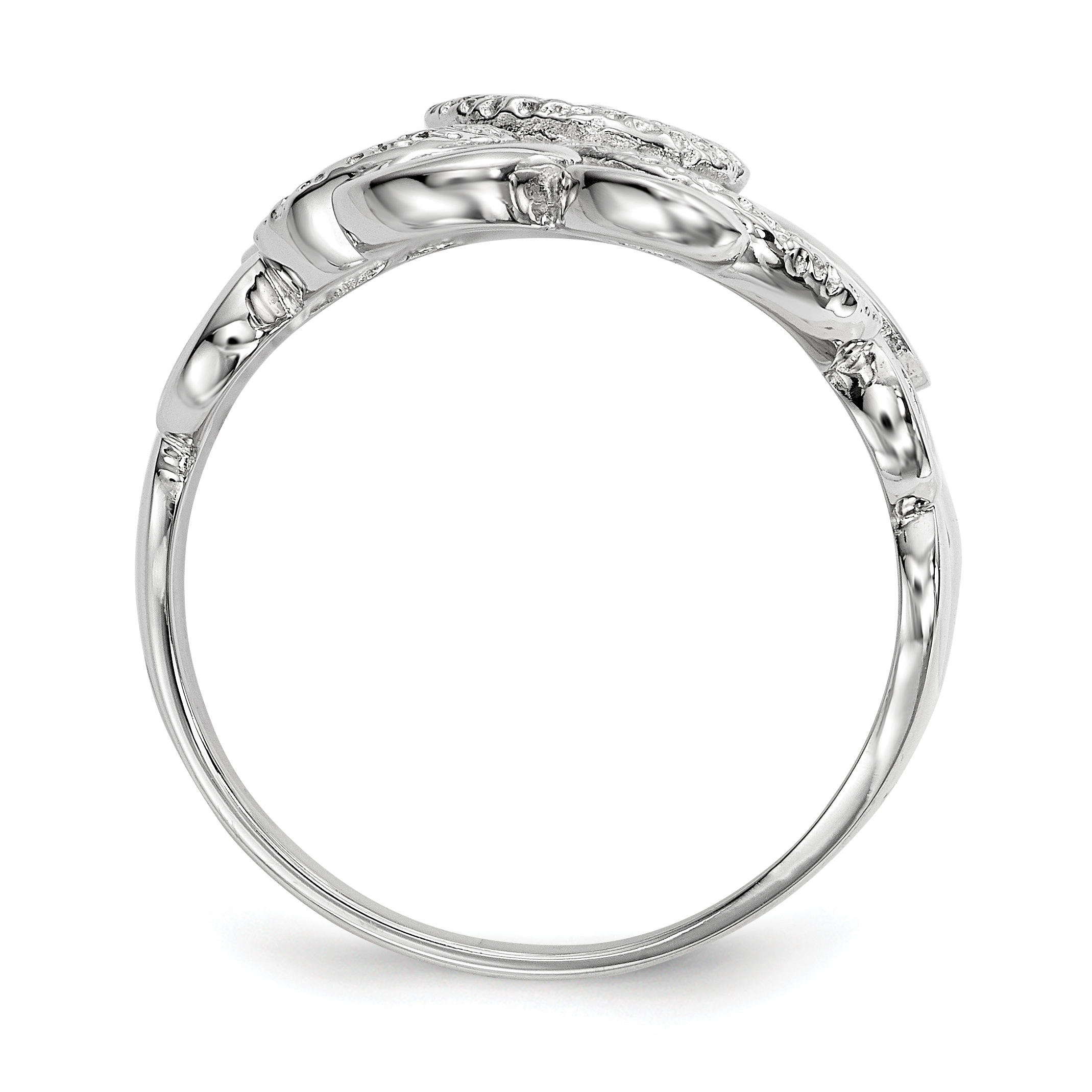 925 Sterling Silver Textured Circles Band Ring Size 7.00 Fine Jewelry Gifts For Women For Her - image 1 de 4