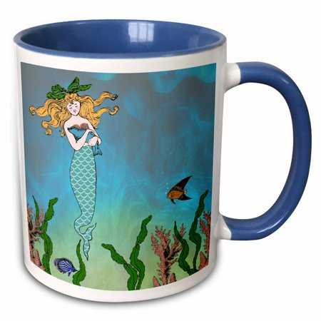 3dRose Cute pretty mermaid hugging baby seal - underwater mythical vintage art at sea - ocean marine theme - Two Tone Blue Mug, (Under The Sea Art Projects For Toddlers)