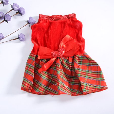 Lovely Puppy Dog Plaid Bow Apparel Red Dress Clothes Pet Christmas Party Skirt Pleated Plaid Dog Dress