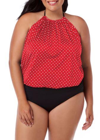 Women's Plus-Size High Neck Bouson One-Piece Swimsuit