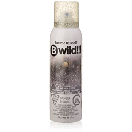 Jerome Russell B Wild Glitter Body & Hair Spray, Silver, 3.5 Oz