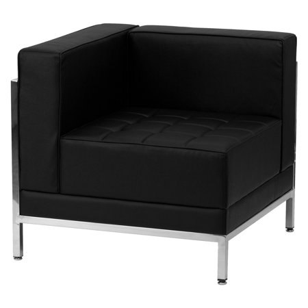 Flash Furniture Hercules Imagination Series Contemporary Leather Left Corner Chair with Encasing Frame, Black (Corner Sectional Chair Frame)