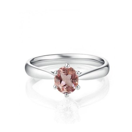 1 Carat Round cut Morganite & Diamond Solitaire Engagement Ring for Women in 14k White Gold morganite & diamond engagement ring