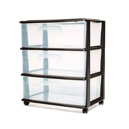 Homz 3 Drawer Wide Cart with Casters/Wheels, Set of 1