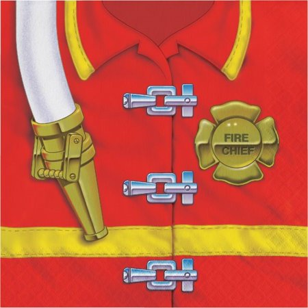 Party Creations Firefighter Lunch Napkins, 16 Ct (Fire Party Supplies)