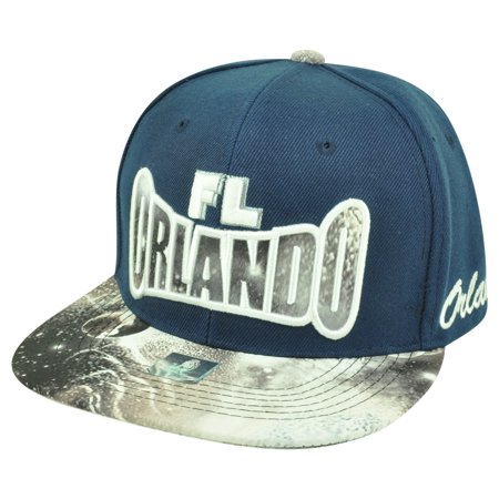 Orlando Florida Galactic Sublimated Galaxy Flat Bill Snapback Navy Blue Hat