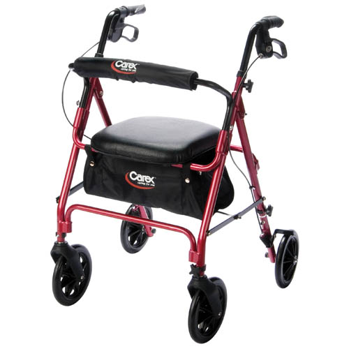 Carex Roller Walker w/ Ergonomic Handgrips - Weight capacity: 250 lbs