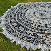 Black and White Round Beach Towel Elephant Mandala Throw Wall Tapestry Hippie Blanket Round Yoga Mat Indian Wall Hanging Picnic Roundie by Goood Times
