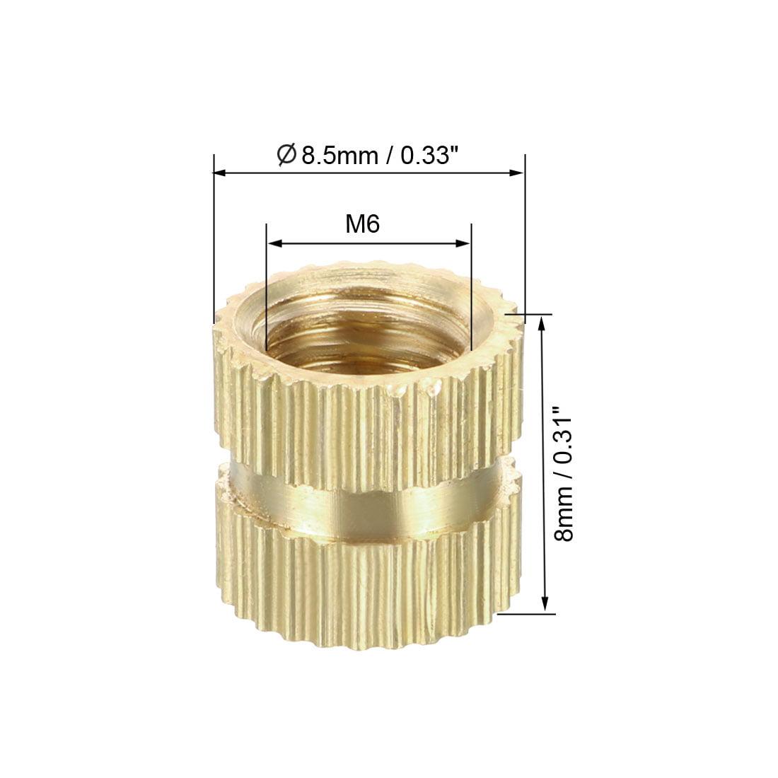 M6 x 8mm(L) x 8.5mm(OD) Brass Knurled Threaded Insert Embedment Nuts, 100 Pcs - image 1 de 3