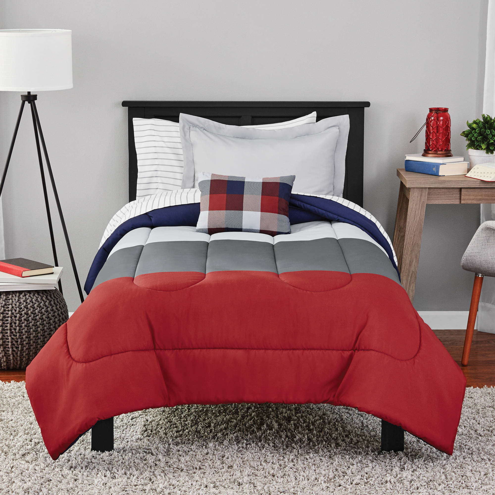Mainstays Colorblock Bed in a Bag Bedding Set