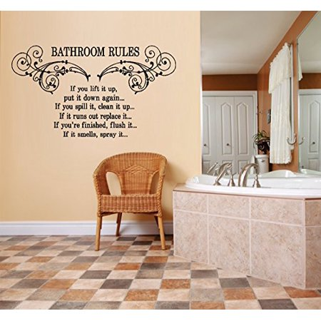 - Decal ~ Bathroom Rules #3: WALL DECAL, HOME DECOR, 15