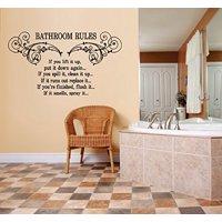 "Decal ~ Bathroom Rules #3: WALL DECAL, HOME DECOR, 15"" X 27"""