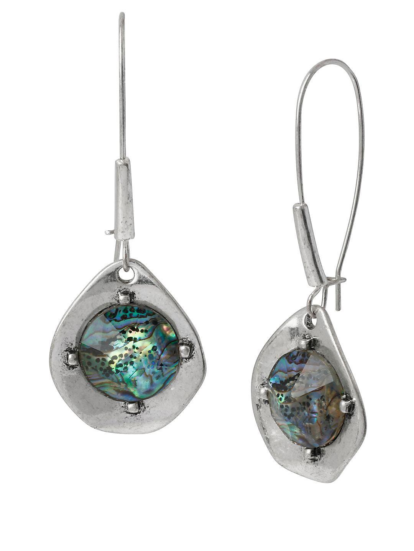 Blue Dimensions Silvertone Abalone Drop Earrings