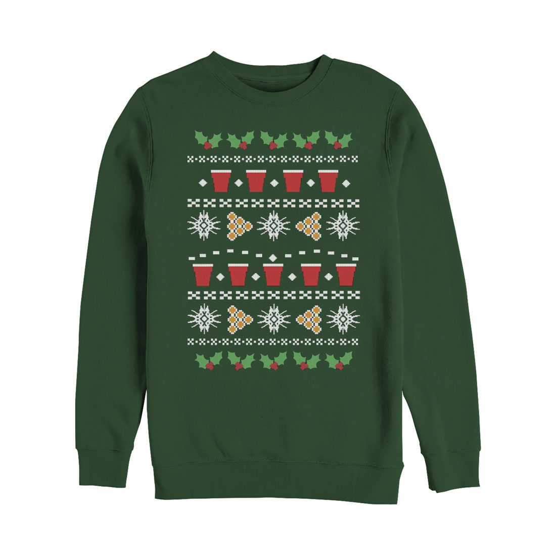 Lost Gods Beer Pong Ugly Christmas Sweater Mens Graphic Sweatshirt