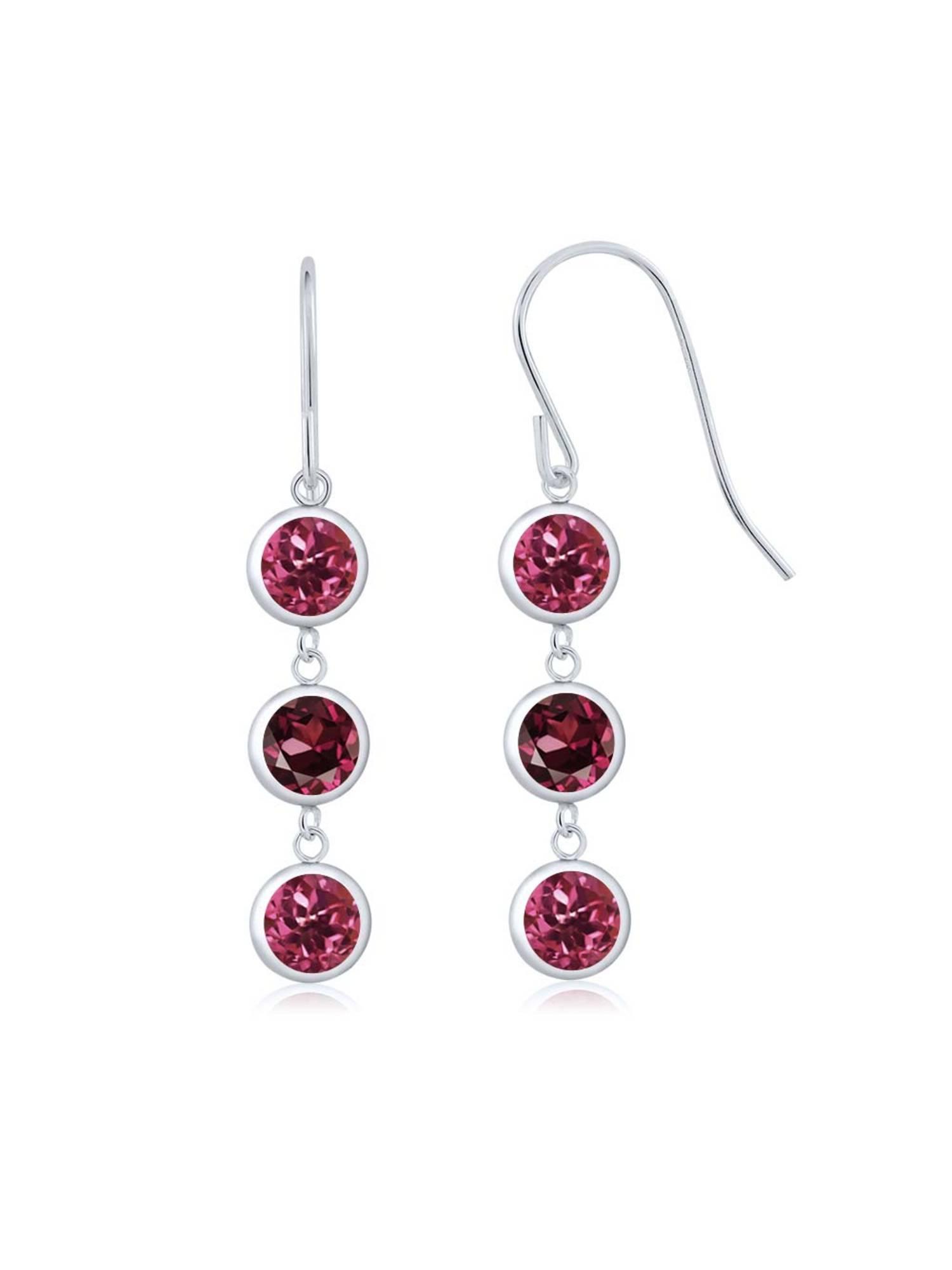 3.20 Ct Round Pink Tourmaline Red Rhodolite Garnet 925 Sterling Silver Earrings by