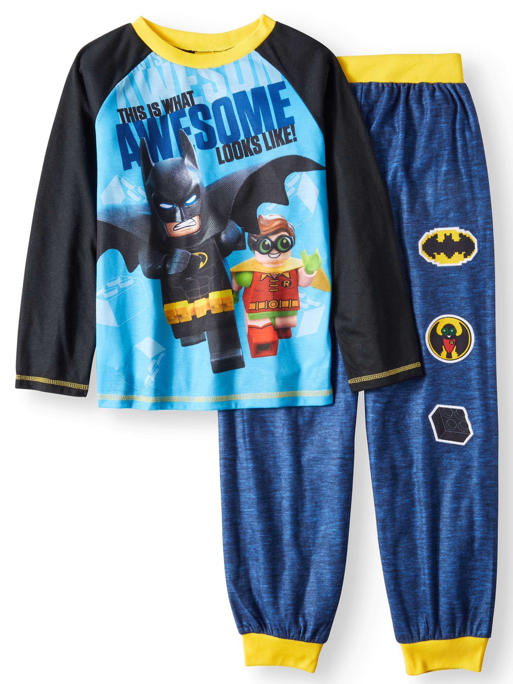 Lego Batman Graphic Raglan and Jogger 2 Piece Pajama Sleep Set (Big Boy & Little Boy)