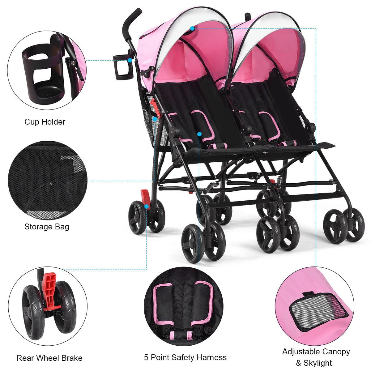 Baby-joy Foldable Twin Baby Double Stroller Kids Ultralight Umbrella Stroller Pushchair