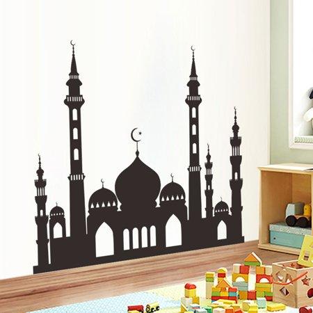 Muslim Ramadan Festival Decoration Mosque Pattern Wall Sticker Decal Poster Home Decor 49.6x57cm - image 2 of 8
