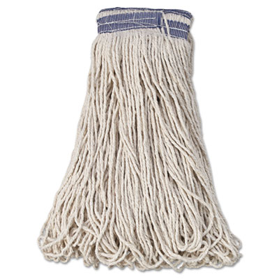 "Universal Headband Mop Head, Cotton, White, 32oz, 1"" Blue Band, 12/Carton, Sold as 1 Carton, 12 Each per Carton"