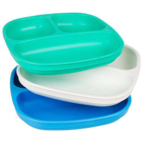 Re-Play 3 Pack Divided Plates Primary Colors by Re-Play
