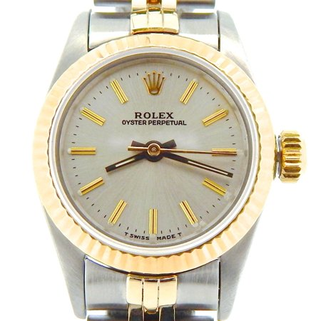 Preowned Customized Rolex Ladies Oyster Perpetual 67193 Two-Tone Watch (Certified