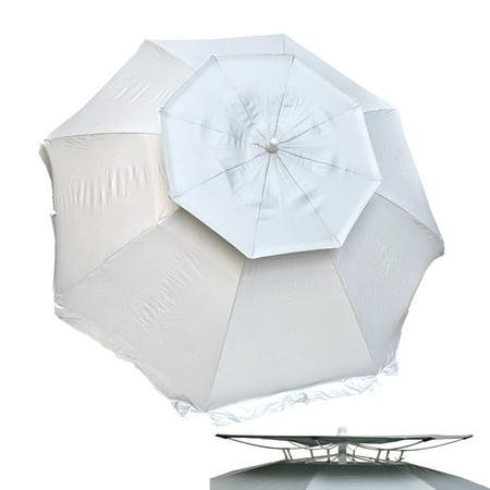 8 ft Deluxe Solar Guard Dual Canopy Beach Umbrella UPF 150+ Ultra Cool - Heavy Duty Wind / Water