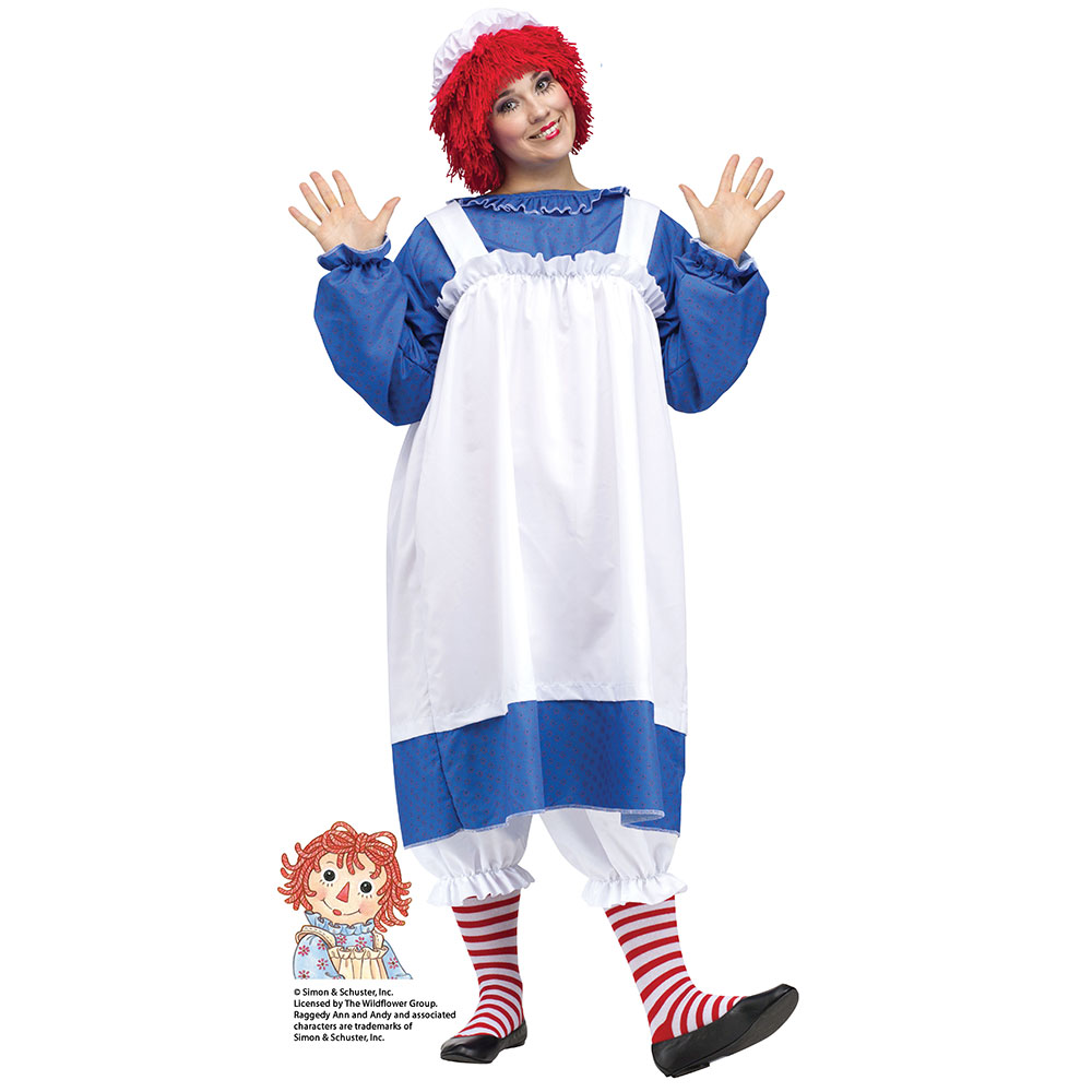Womens Raggedy Ann Plus Size Halloween Costume sz 16W-24W
