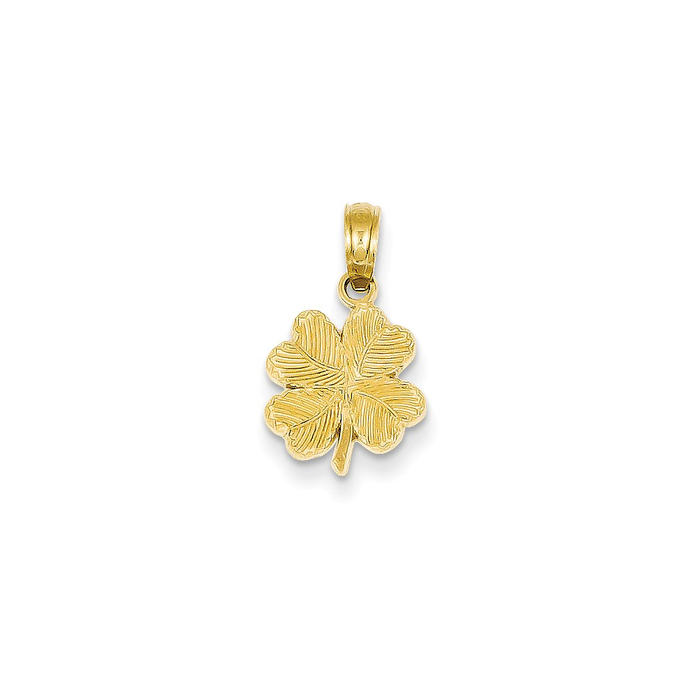 ICE CARATS 14kt Yellow Gold Textured 4 Leaf Clover Pendant Charm Necklace Good Luck Italian Horn Fine Jewelry Ideal Gifts For Women Gift Set From Heart