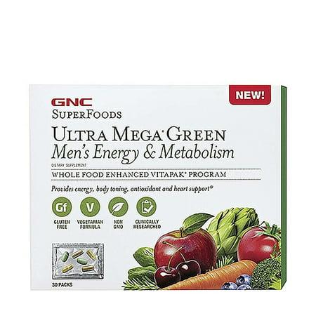 Superfoods Ultra Mega Green Mens Energy Metabolism   30 Packs By Gnc