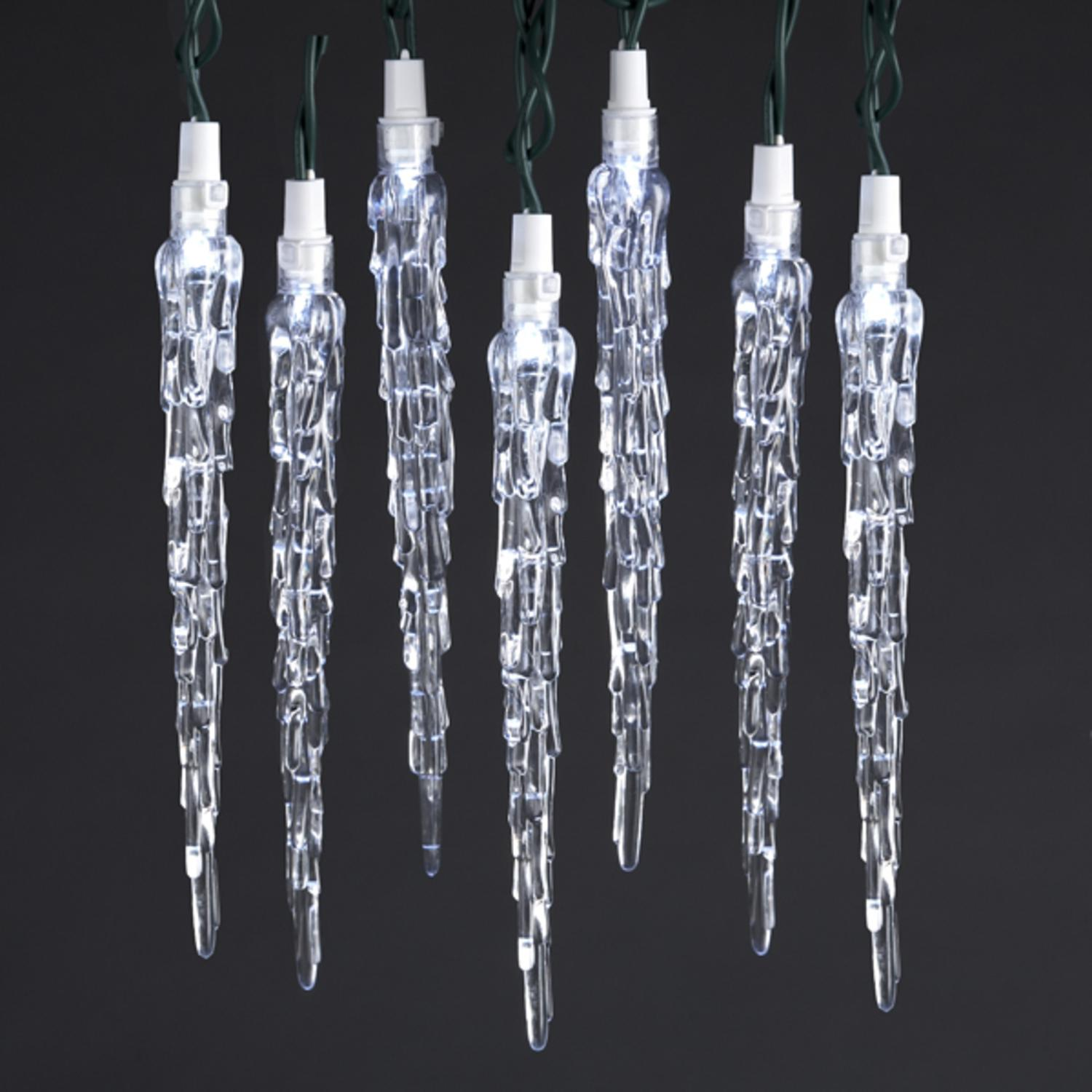 Set Of 10 Led Pure White Long Clear Icicle Christmas Lights