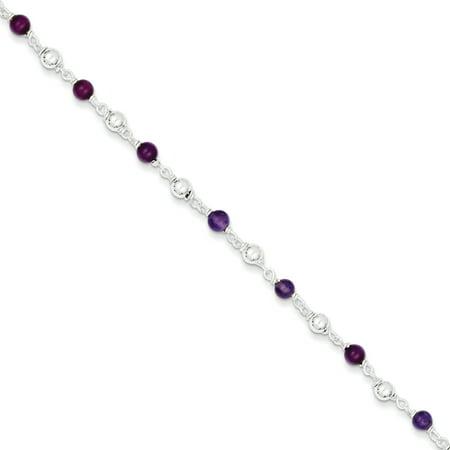 925 Sterling Silver 7 Inch Purple Amethyst Beaded Bracelet Gemstone Fancy Gifts For Women For Her