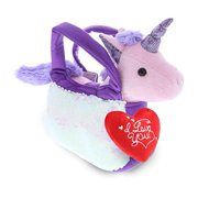 DolliBu Purple Unicorn Pet Carrier I Love You Message Stuffed Animal 9 Inch, Valentines Day Gifts For Boyfriend or Girlfriend, Cute Teddy Bear with Heart Plush for Friend, Anniversary & Valentine Gift