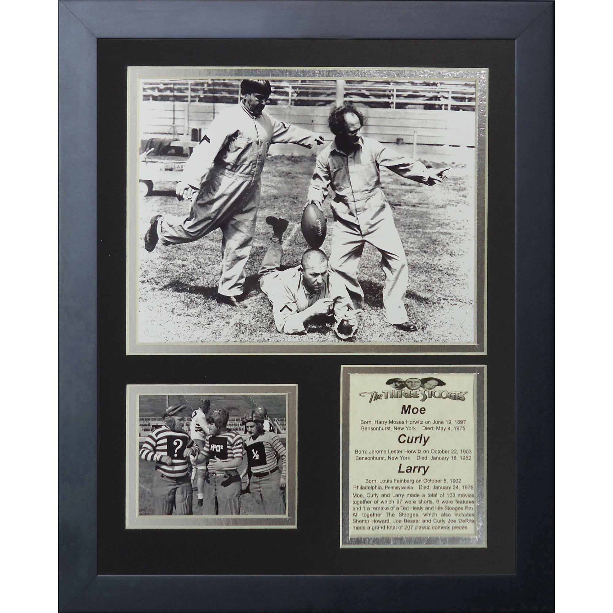 """Legends Never Die The Three Stooges Football Framed Photo Collage, 11"""" x 14"""""""
