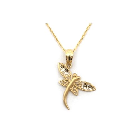 14k Yellow Gold Filigree Dragonfly Pendant Necklace - 13 15 16 18 20 22