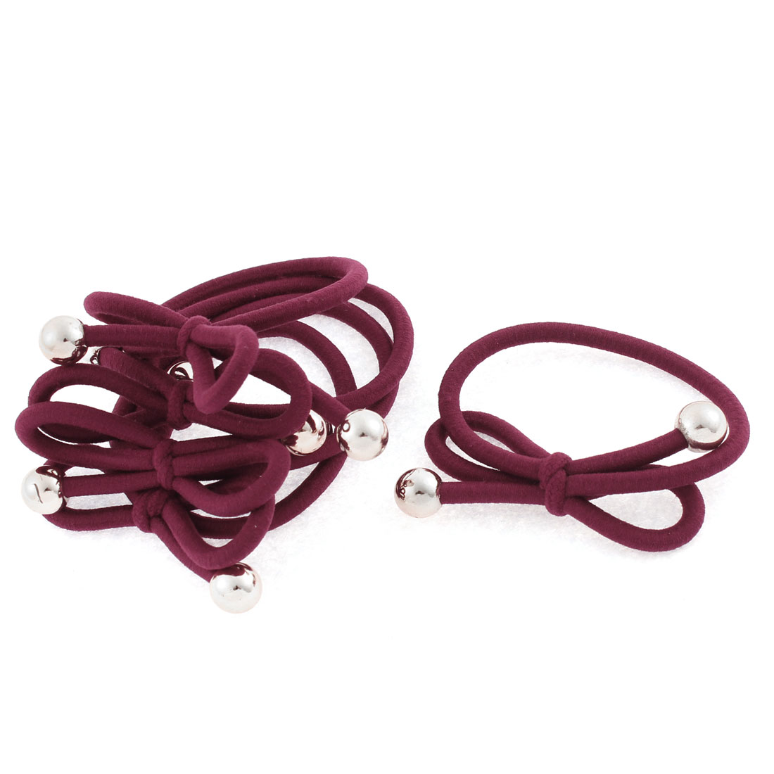 Unique Bargains 5 Pcs Burgundy Faux Pearl Decor Bow-Knot Elastic Rubber Hair Ties Bands Ponytail