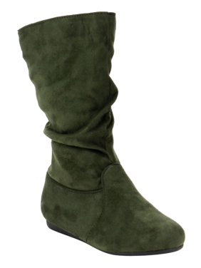 LINK GD92 Girl's Mid-Calf Solid Color Flat Heel Slouch Boots