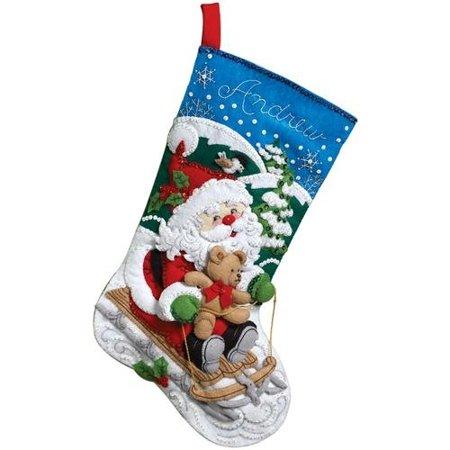 Sledding Santa Stocking - 18-Inch Christmas Stocking Felt Applique Kit, 86279 Santa's Sled, Detailed designs and generous embellishments By Bucilla