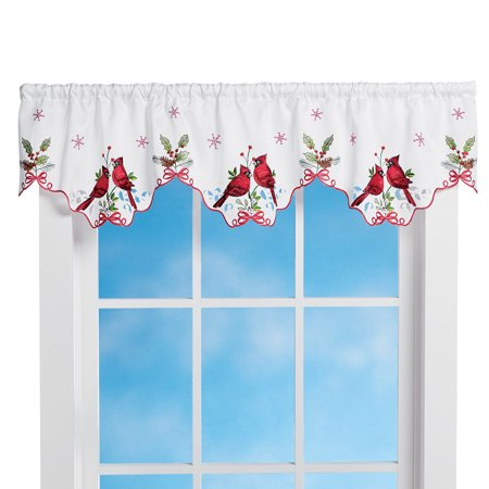 Embroidered Winter Cardinals Window Curtain Panels