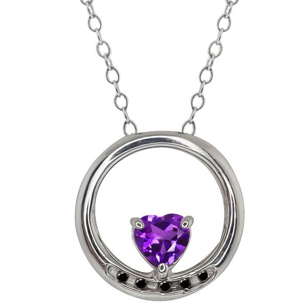 0.43 Ct Heart Shape Purple Amethyst and Diamond 14k White Gold Pendant