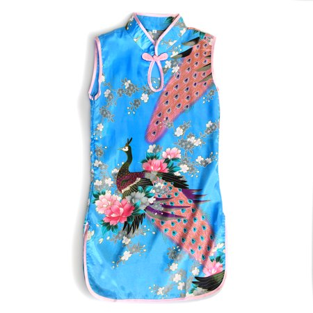 Girl Traditional Chinese Qipao Dress With Peacock Lunar New Years - Traditional Christmas Dresses For Girls