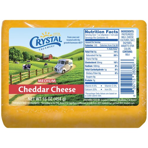 Crystal Creamery Medium Cheddar Cheese, 16 oz