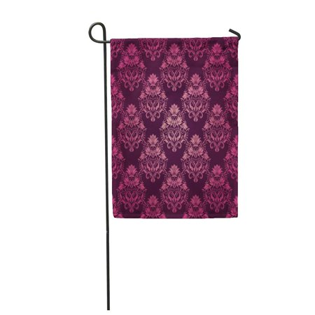 SIDONKU Pink Brocade Damask Floral Pattern Royal Flowers on Purple Garden Flag Decorative Flag House Banner 12x18 (Royal Brocade)