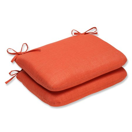 (Set of 2 Solid Orange UV/Fade Resistant Outdoor Seat Cushion with Ties 18.5