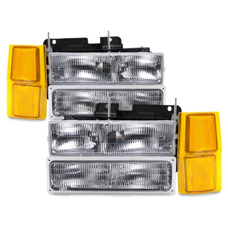 94-99 Chevy Silverado Suburban Blazer Headlamps Headlight Assembly 8PC Set Pair OEM Style GM2502101 & GM2503101